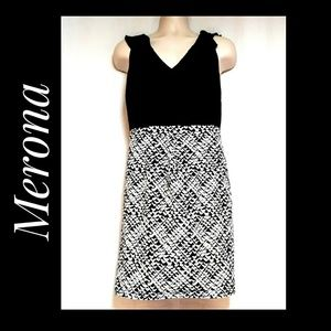 Merona Sleeveless Black and White Career Dress